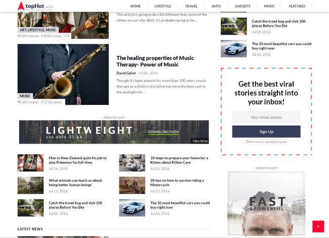 Тема новостного журнала и блога на вордпресс оптимизированная под размещение рекламы Google AdSense