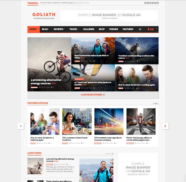 Отзывчивая WordPress тема для новостного сайта или блога с обзорами