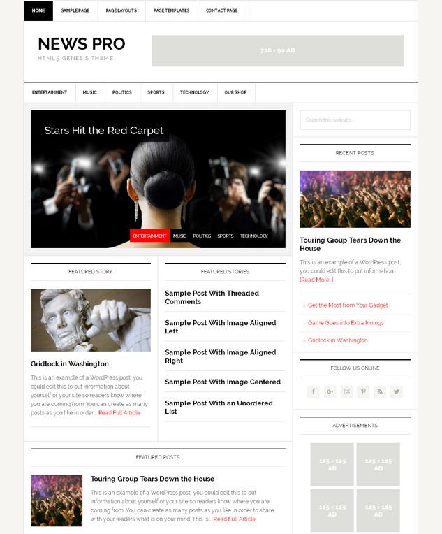 Новостная тема WordPress с мощным функционалом