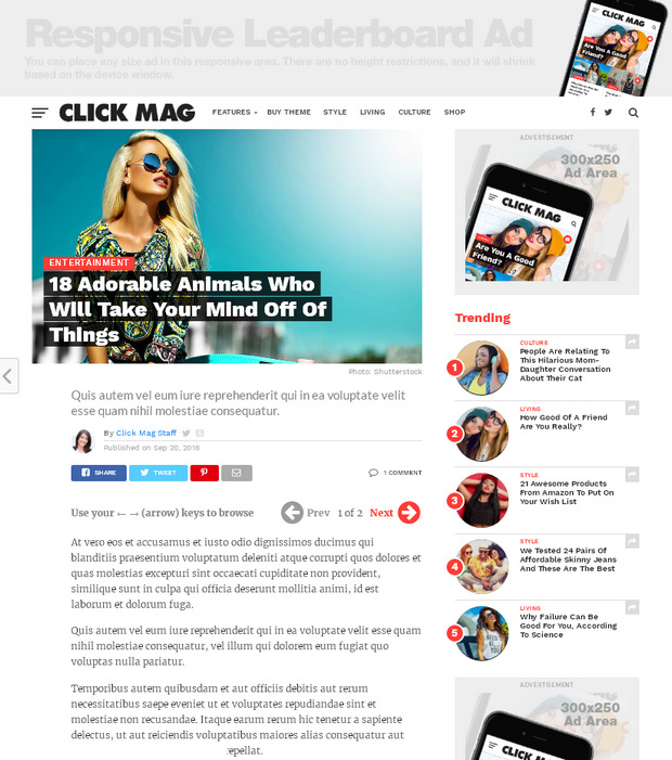 Тема WordPress для современного новостного сайта или блога, оптимизирована под монетизацию рекламой