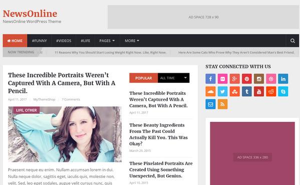 Красивый журнальный шаблон для новостника на WordPress
