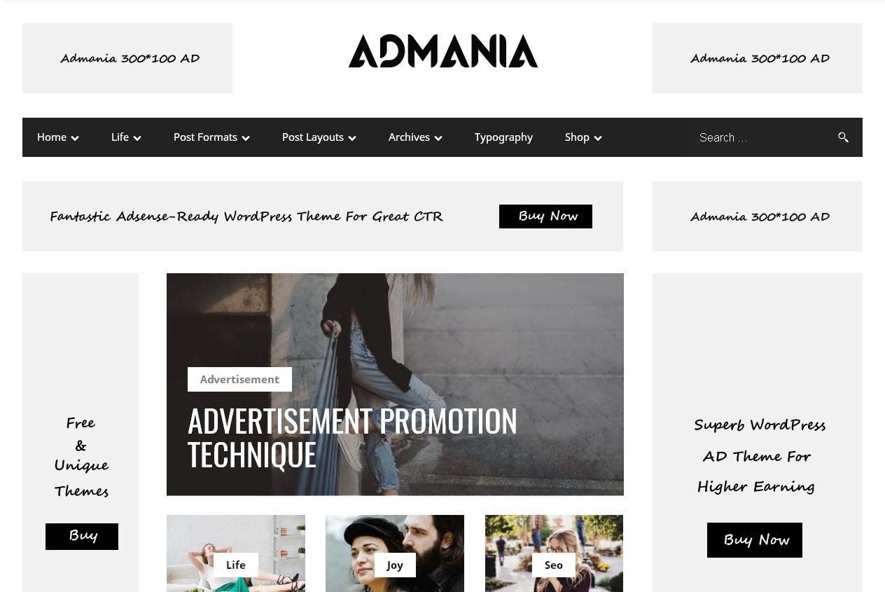 Admania — популярная WordPress-тема оптимизированная для максимального заработка на контекстной рекламе