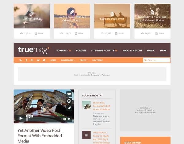 Truemag – эффективная тема WordPress с высоким CTR под рекламу Adsense