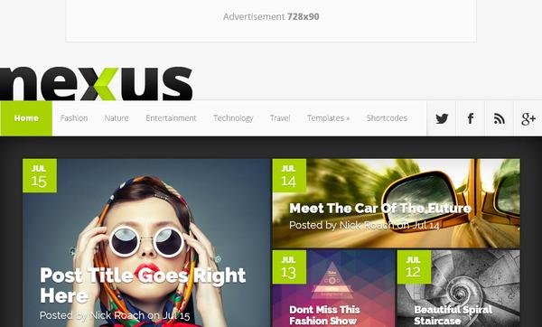Nexus – гибкая тема вордпресс блога / журнала с возможностью легко размещать рекламу