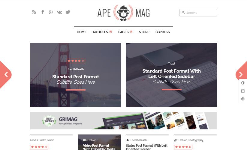 Блоговые и журнальные шаблоны: WordPress тема оптимизированная для рекламы Adsense – Apemag