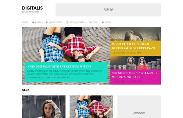 Digitalis – многоцелевая тема WordPress для заработка на рекламе Adsense