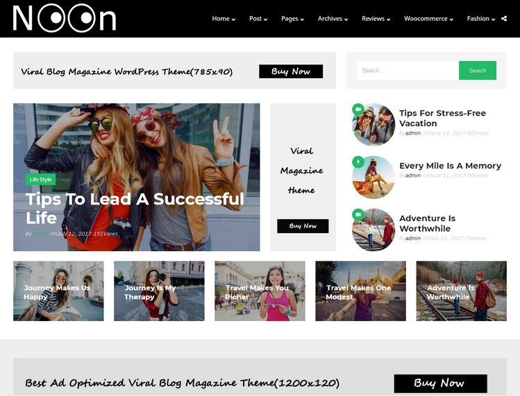 Тема WordPress для журнального сайта с вирусным контентом или блога – Noon