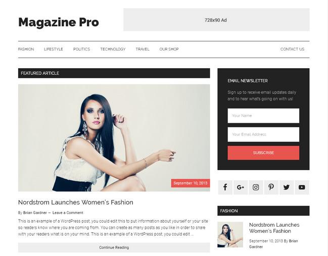 Журнально-блоговый шаблон оптимизированный для Adsense / рекламы