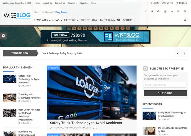 Wise Blog – блоговая тема WordPress, оптимизированная для заработка на рекламе AdSense