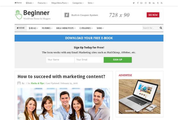 Beginner – блоговая тема WordPress для заработка на рекламе АдСенс