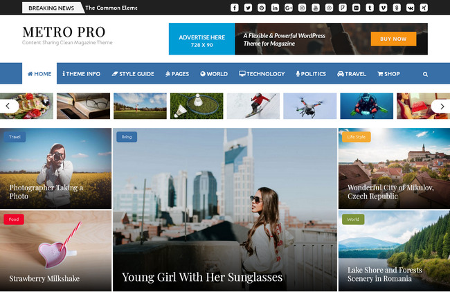 Журнальная тема WordPress для заработка на рекламе АдСенсе – Metro Magazine Pro