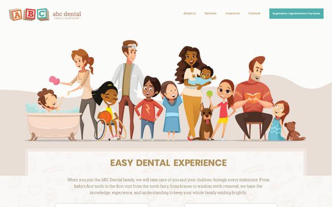 Персонажные иллюстрации в веб-дизайне: приятное оформление сайта стоматологии