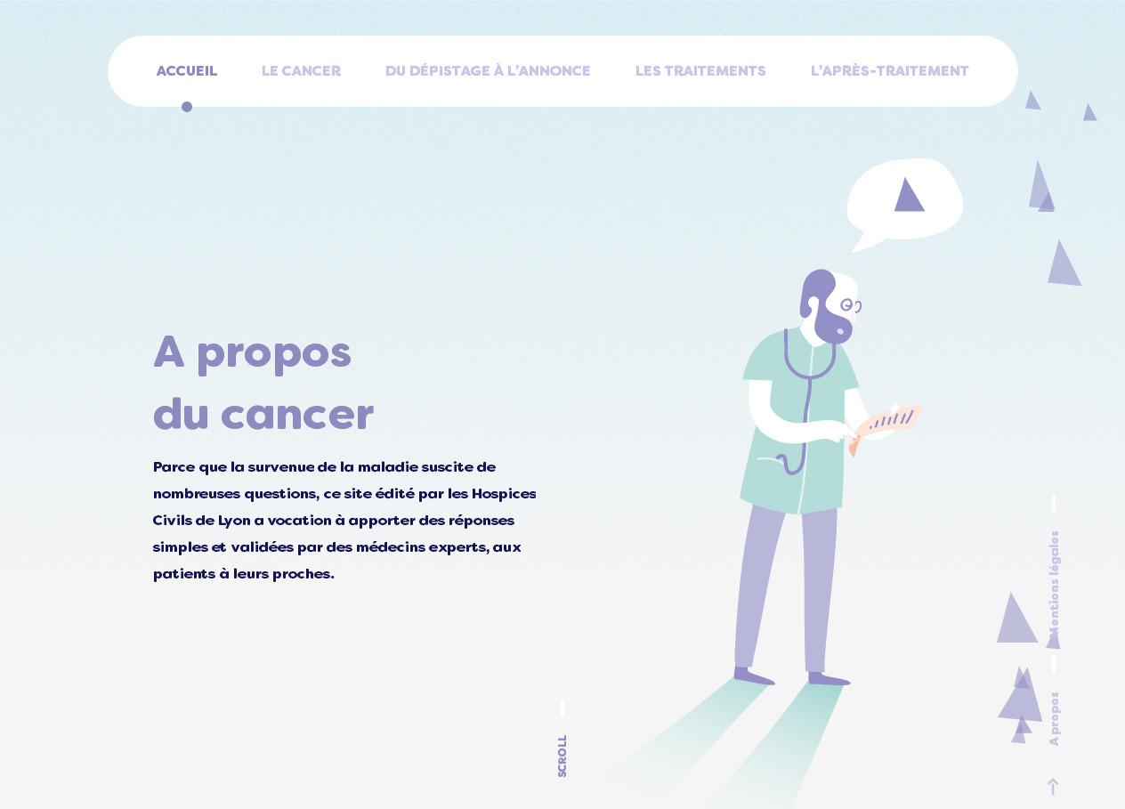 Стильный французский сайт медицинской тематики с красиво анимированным современным дизайном