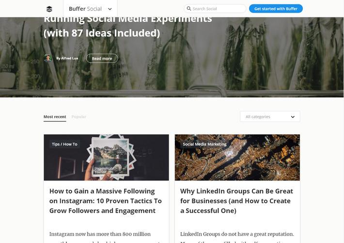 Пример корпоративного блога с карточным дизайном