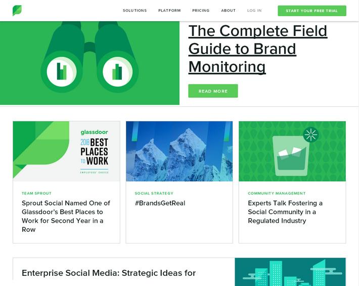 10 примеров эффективных корпоративных блогов: зеленый дизайн с карточками