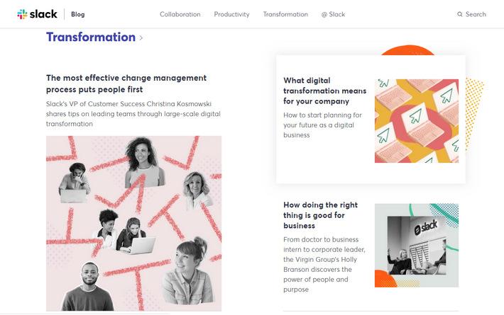 Красиво оформленный корпоративный блог популярного сервиса корпоративного мессенджера: оригинальный дизайн с плитками, карточками и эффектами