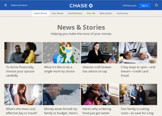 Корпоративный блог американского банка - пример хорошего дизайна в карточном стиле