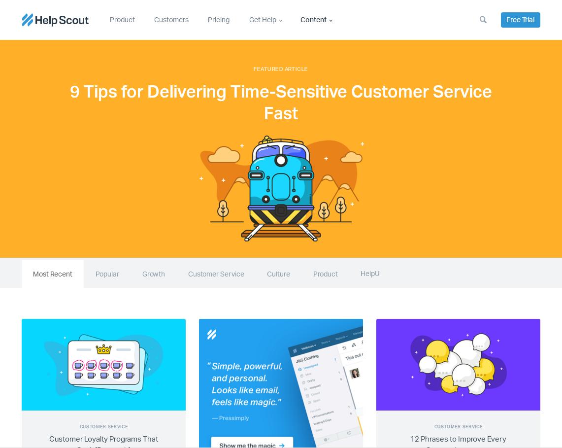 Примеры дизайна корпоративных блогов: карточный стиль с яркими Flat-иллюстрациями