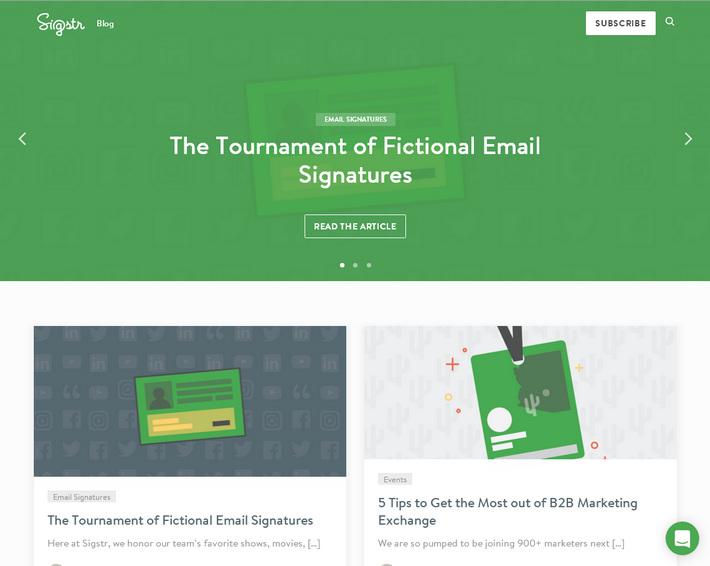 Примеры корпоративных блогов: зеленый дизайн с карточками