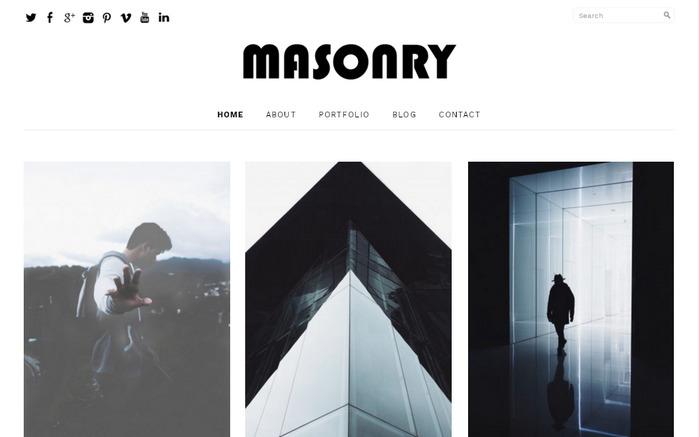Masonry - бесплатная минималистичная Вордпресс-тема для создания эстетически привлекательного сайта портфолио или агентства