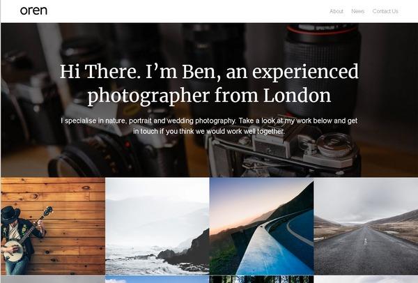 Бесплатная минималистичная WP-тема для сайтов фотографов и портфолио творческих людей - Oren