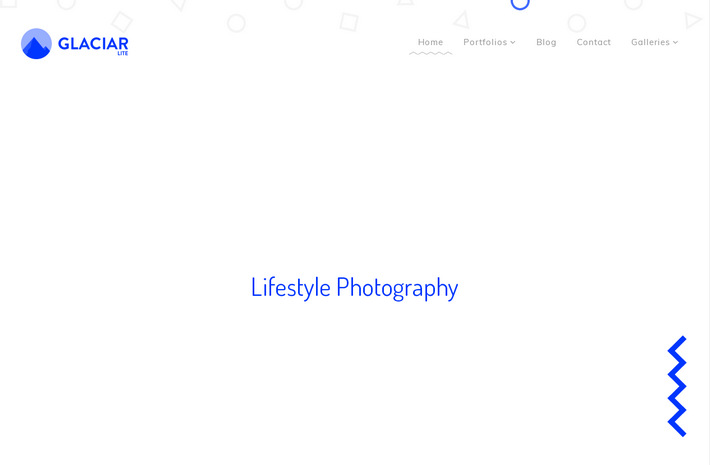 Бесплатная WordPress тема для креативного дизайнерского сайта и портфолио фотографа – Glaciar Lite