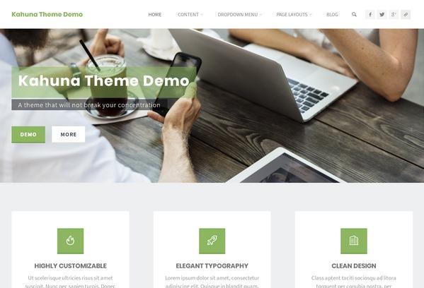 Kahuna — функциональная портфолио-тема WordPress для персонального и бизнес сайта, лендинга или eCommerce решения