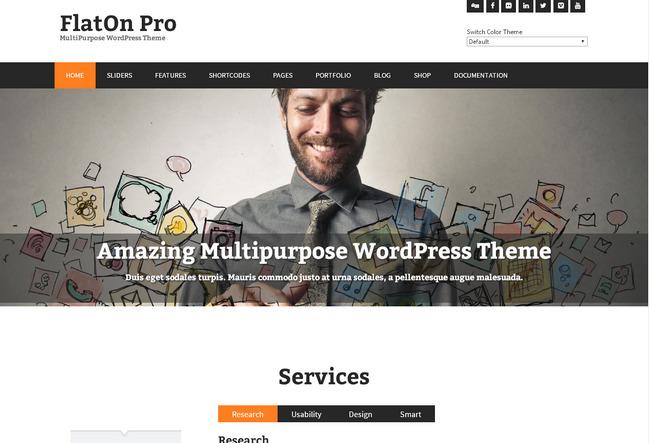 Тема для портфолио-сайта с плоским дизайном на Вордпрессе, Бутстрапе, HTML5 и CSS3