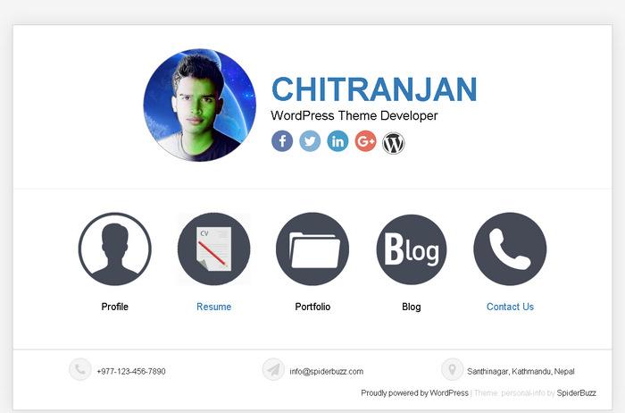 Элегантная бесплатная тема WordPress для персонального резюме