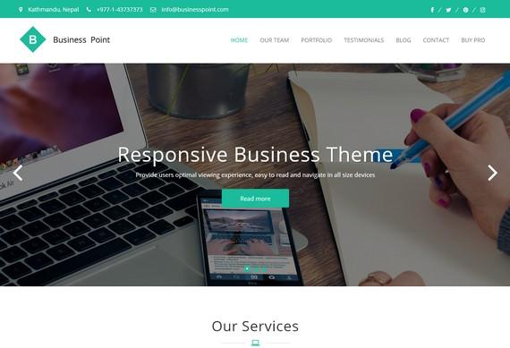 Business Point - бизнес-тема WordPress для портфолио и агентств позволит бесплатно создать деловой сайт