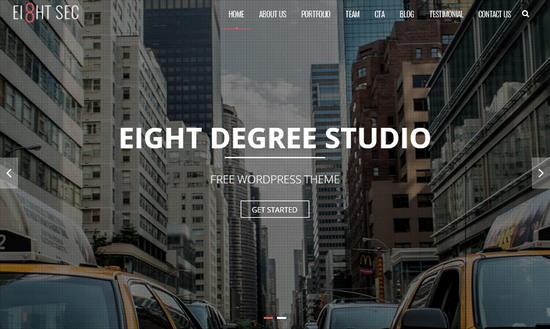 Бесплатный WordPress шаблон для одностраничного сайта портфолио - Eight Sec
