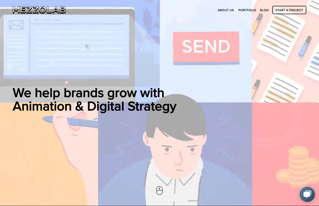 Flat дизайн с креативным плоским видео - агентский сайт mezzolab.com