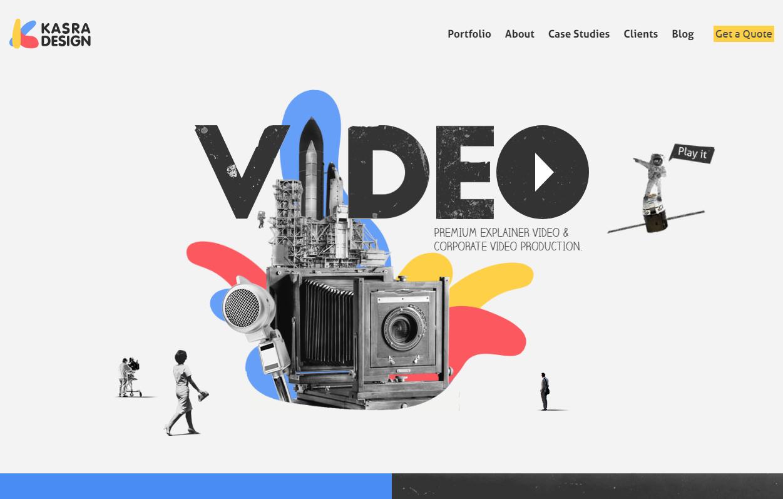 Оригинальный флэт сайт с плоскими иллюстрациями и видео в стиле Flat / 3D
