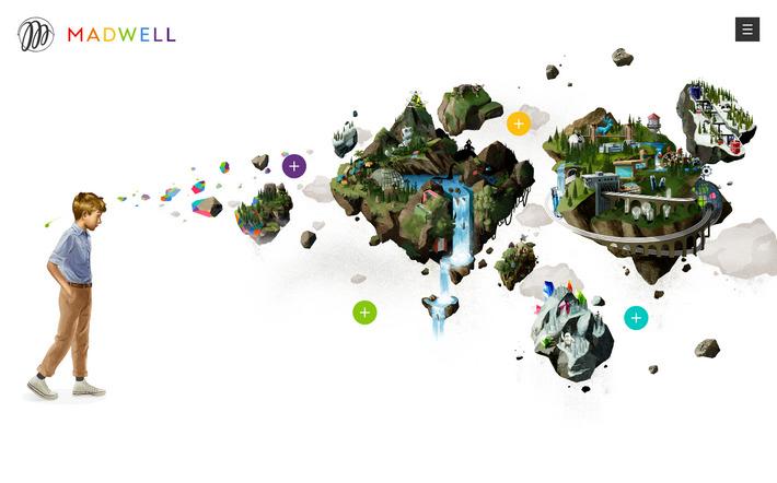 Красивый FLAT дизайн: сайт агентства Madwell в плоском стиле с интерактивной анимацией
