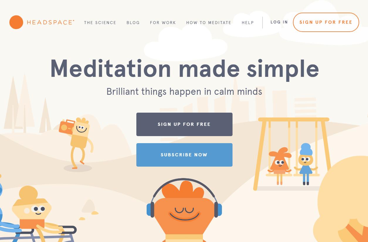 Сайт с позитивными flat-иллюстрациями в плоском дизайне