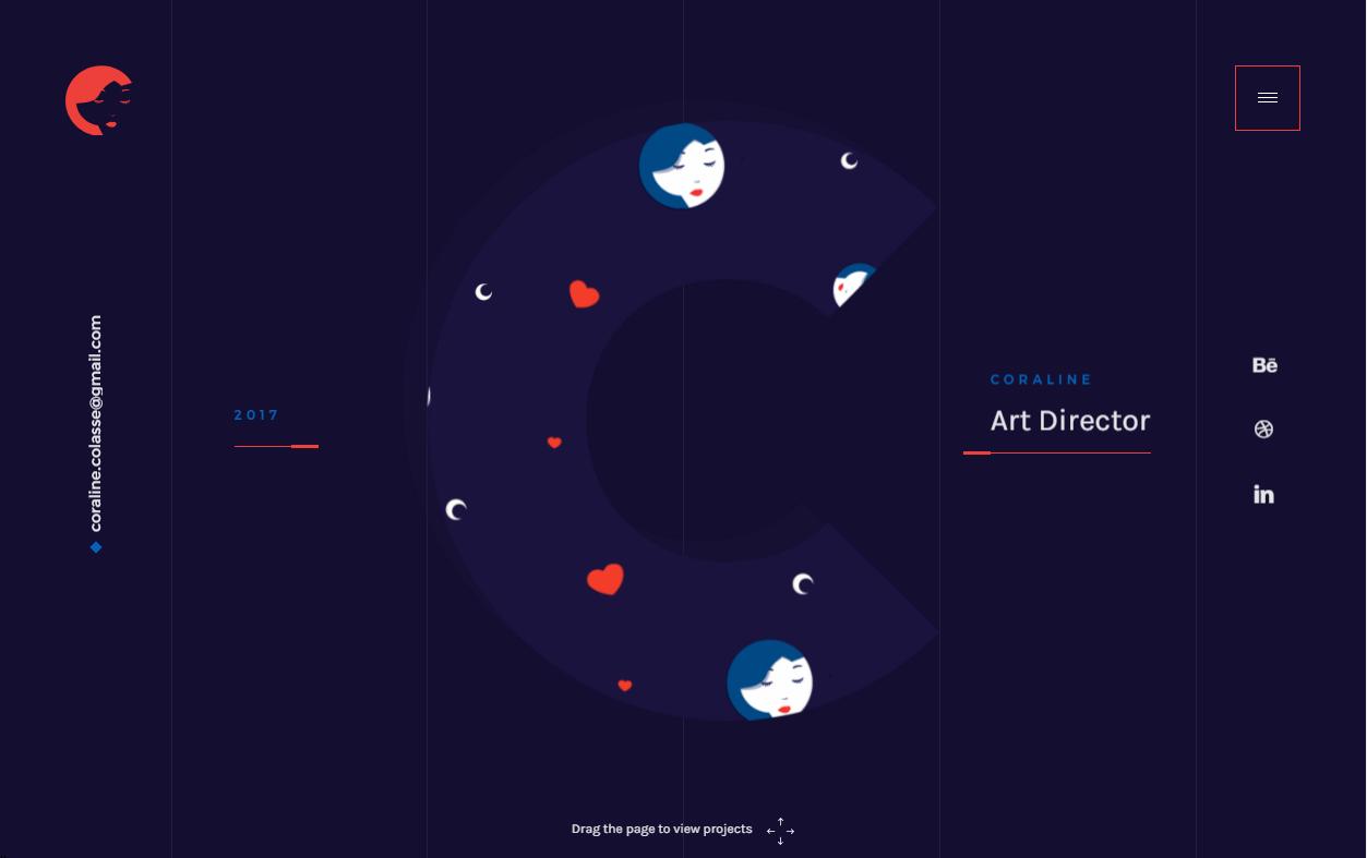 Пример креативного флэт-оформления главной страницы персонального сайта