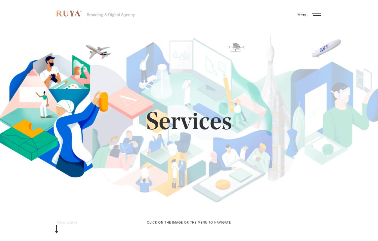 Красивый яркий веб-дизайн с иллюстрациями в арабском стиле
