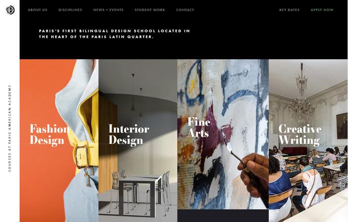 Черно-белый плоский веб-дизайн: сайт парижской академии дизайна