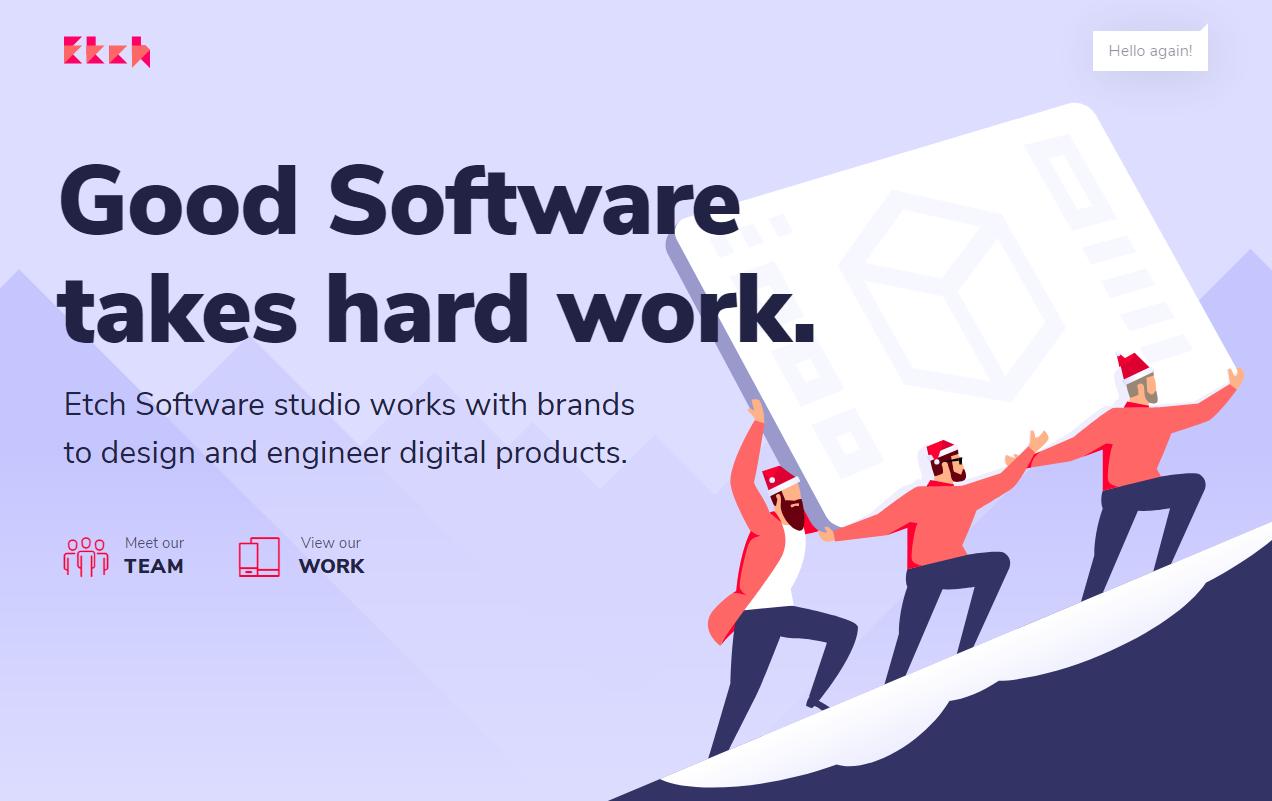 Великолепный плоский дизайн с красивой флэт-графикой - сайт дизайнерской студии Etch