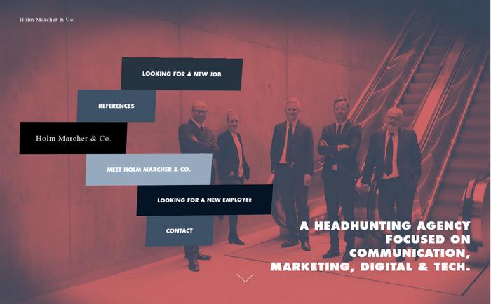 Holmmarcher.dk - необычно оформленный американский бизнес-сайт запоминается приветливым и ненавязчивым плоским дизайном с двухцветными фото (Duotone)