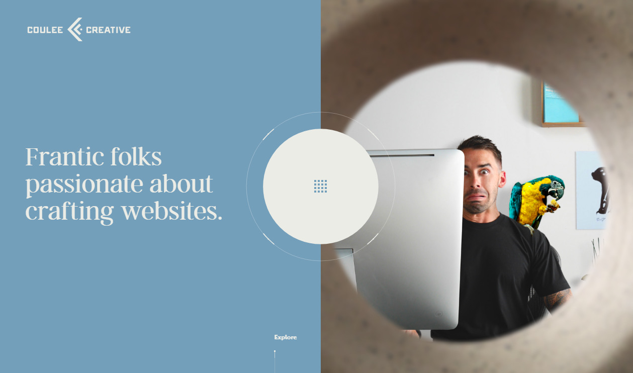 Плоский сайт с необычной навигацией - couleecreative.com