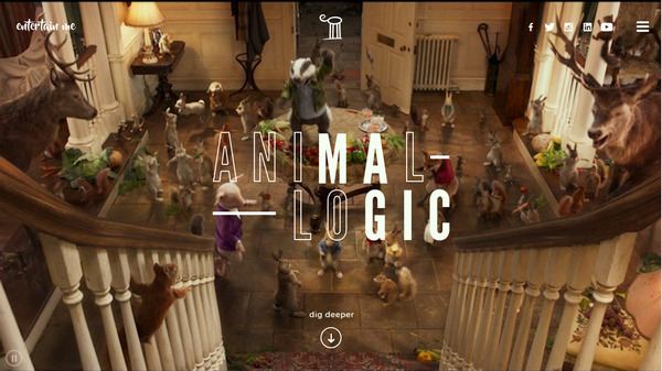 Яркий оригинальный флэт-дизайн сайта компании Animal Logic