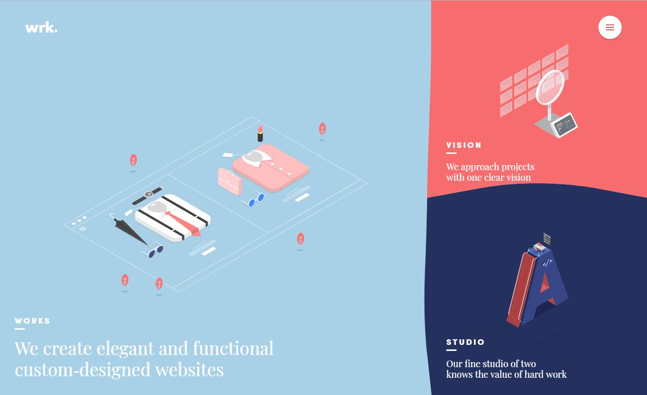 Красиво анимированный плоский сайт французской студии Waaark