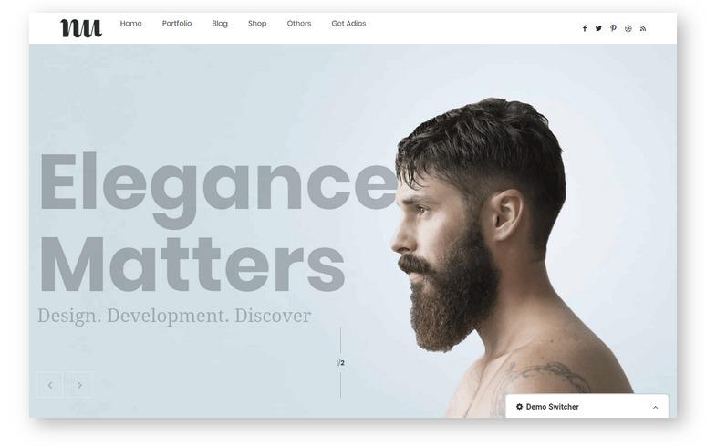 Adios – крутая тема WordPress, впечатляющая качеством дизайна Demo-шаблонов и портфолио страниц