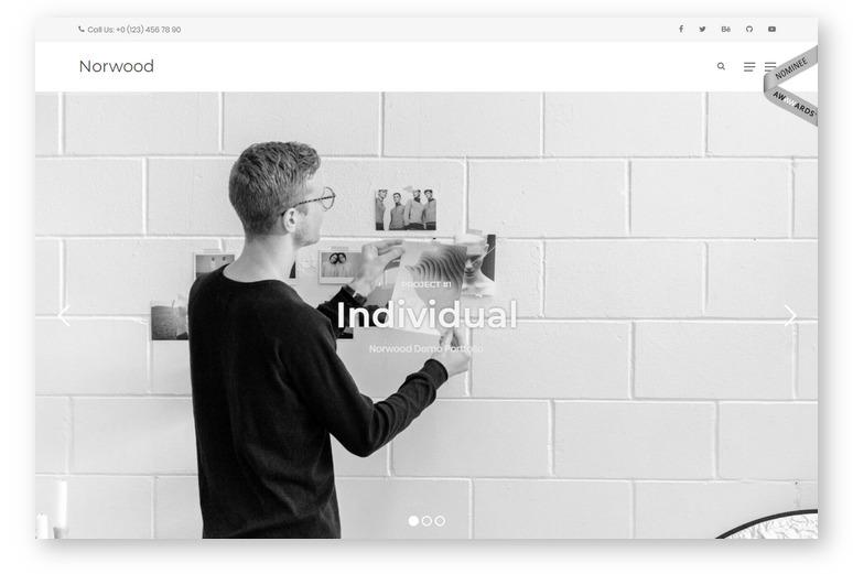 Norwood – новая минималистичная тема WordPress для портфолио