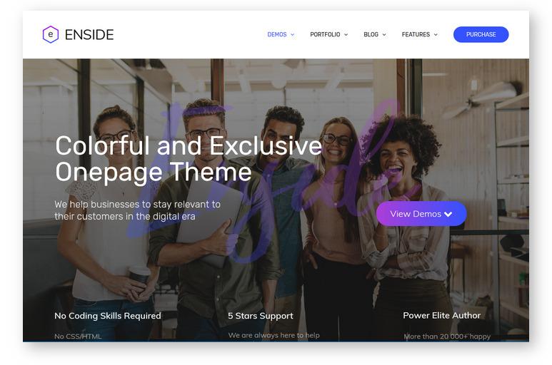 Enside – многоцелевая одностраничная WordPress тема с богатыми возможностями