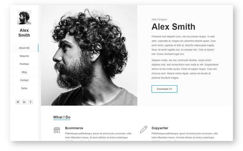 Kerge – портфолио тема WordPress для визитной карточки и резюме с профессиональным дизайном