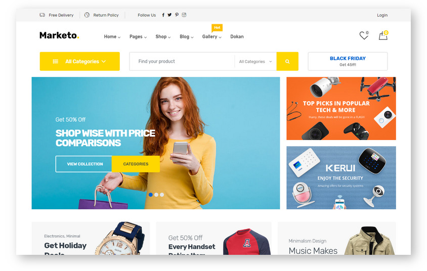 Marketo – новейший шаблон сайта торговой площадки на WordPress всего за $19