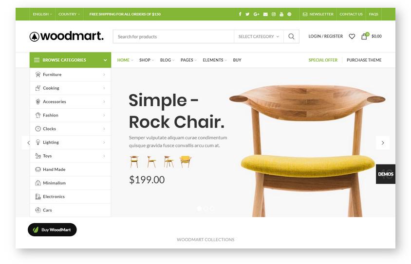 Популярная WooCommerce тема совместимая с Dokan Multivendor Marketplace