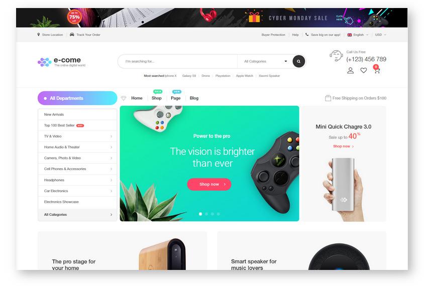 WooCommerce шаблон для создания интернет-магазинов мультивендорного типа – Ecome
